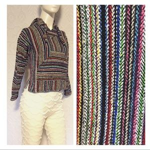 Vintage Colorful Drug Rug Mexican Hooded Poncho